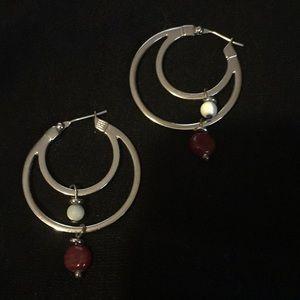 Silver tone double hoop earrings